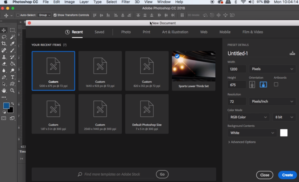 In the Photoshop pop-up select custom size and set your width and height