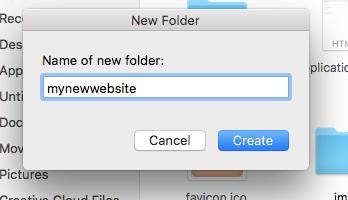 Name folder for new website