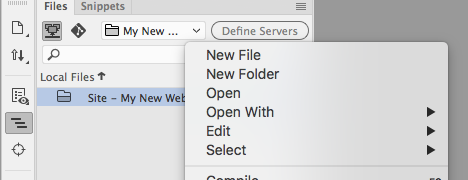 Creating Files in Dreamweaver