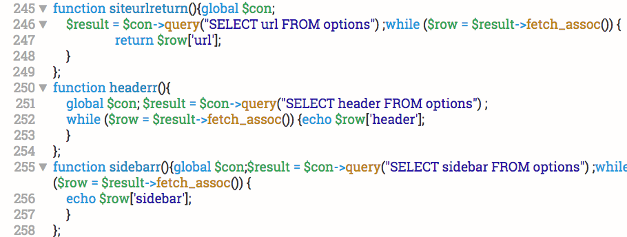 example of messy php code