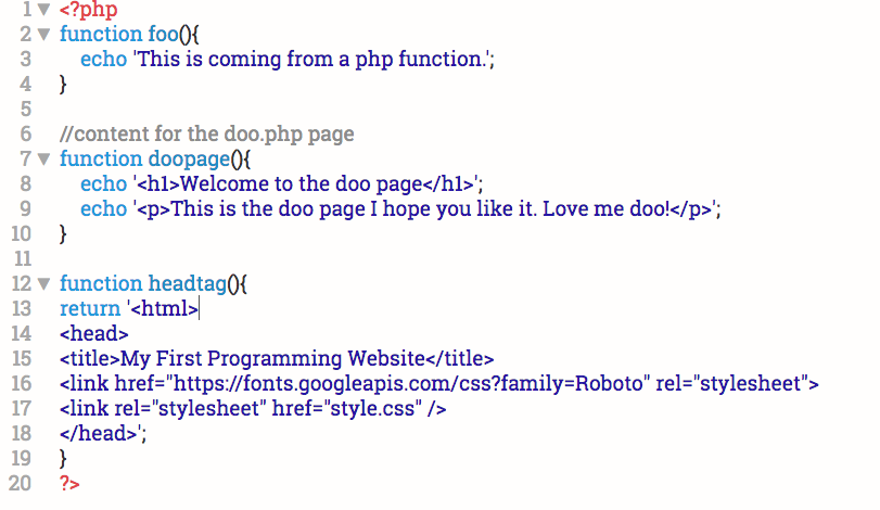project functions.php file