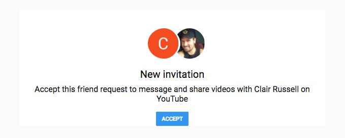 accept YouTube friend requests invitation