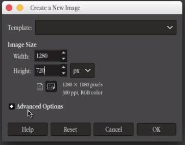 GIMP dimensions