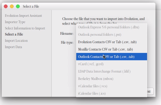file type for evolution