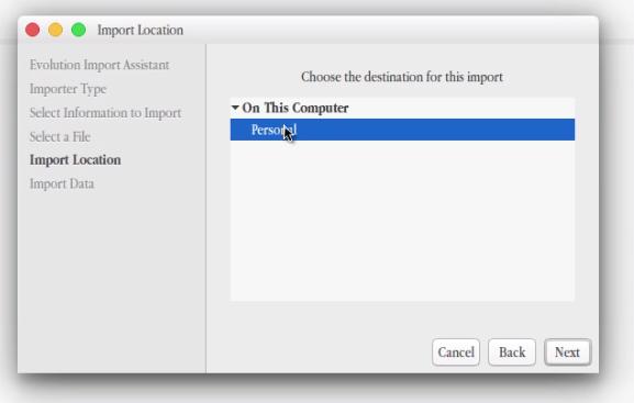 import location evolution contacts CSV file