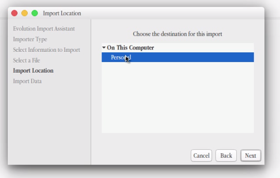 import location evolution contacts CSV file