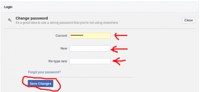 areas to fill out to change password