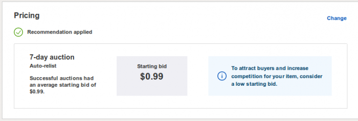 pricing your ebay item