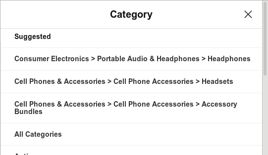 suggested ebay categories