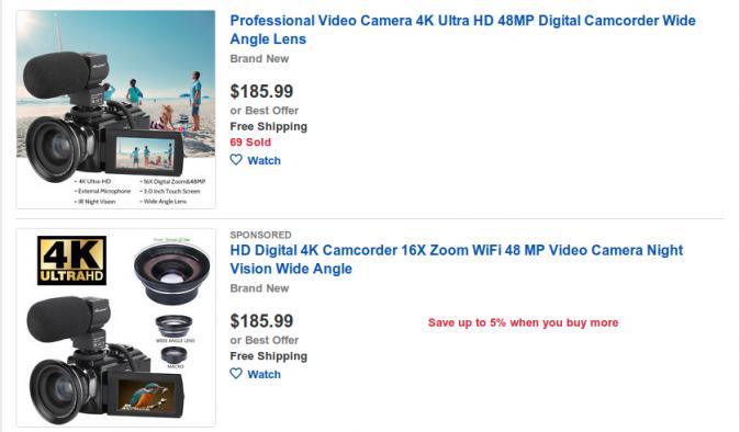 Cameras on eBay