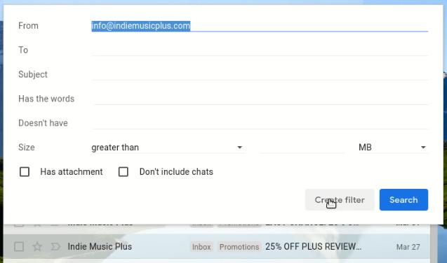 click create filter