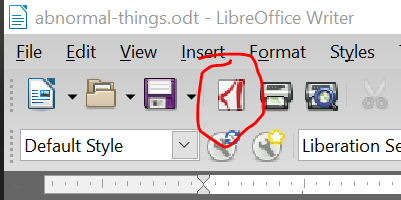 PDF icon in Libre Office Writer